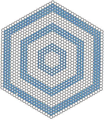 Model strukturalny heksagonalnych pierścieni grafenu.