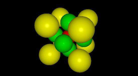 Struktura perwoskitu ABX3 (jony: A – żółte, B – czerwone, X – zielone).