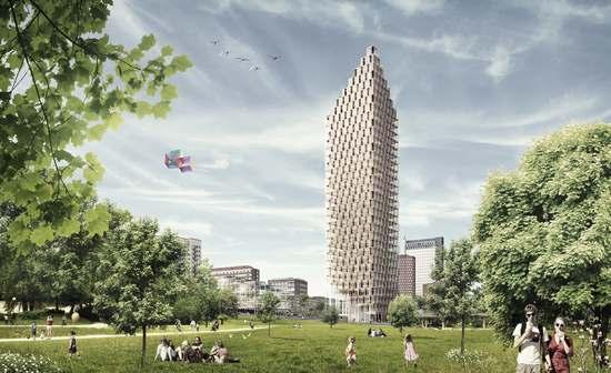 drewniany wieżowiec