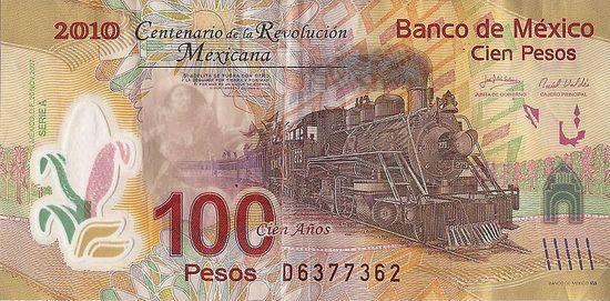 Meksykański, plastikowy banknot 100 pesos.