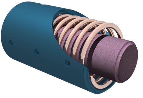 Schemat budowy przetwornika o rdzeniu wykonanym z materiału magnetostrykcyjnego