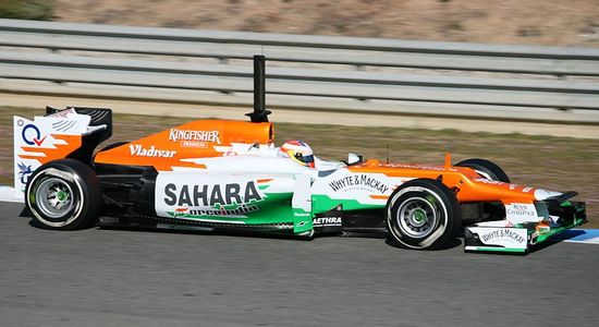 Bolid F1 Force India VJM05 (2012). Kokpit zawiera elementy z włókien Zylonu.